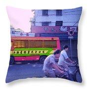 Shanghai Pink Bus Throw Pillow