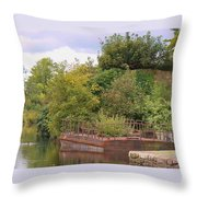 Shannon River Barge Throw Pillow