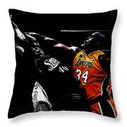 Shaq Protecting The Paint Throw Pillow