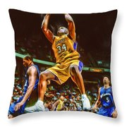 Shaquille O'neal Los Angeles Lakers Oil Art Throw Pillow