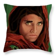Sharbat Gula From Nat Geo Mccurry 1985 Throw Pillow