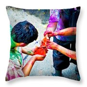 Sharing Colors Sharing Happiness Throw Pillow