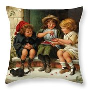 Sharing The Cherries Throw Pillow