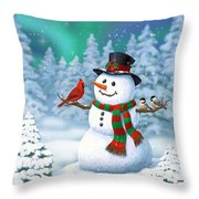 Sharing The Wonder - Christmas Snowman And Birds Throw Pillow