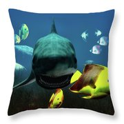 Shark And Fishes Throw Pillow