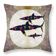 Shark Fish Dangerous Painted Cartoon Face Link For Download Option Below Personal N Commercial Uses Throw Pillow