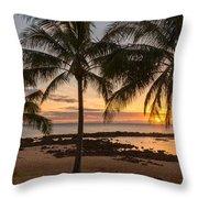 Sharks Cove Sunset 3 - Oahu Hawaii Throw Pillow