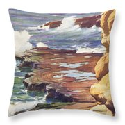 Sharp Rocky Coastline Throw Pillow
