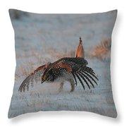 Sharptail Grouse On Snow Throw Pillow
