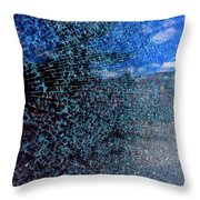 Shattered Blue Throw Pillow