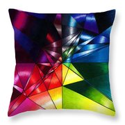 Shattered Rainbow Triangles Optical Art Throw Pillow