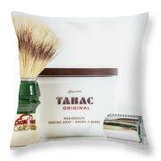 Shaving Set Throw Pillow by Gary Gillette