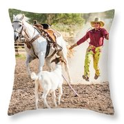 Shawnee Sagers Goat Roping Competition Throw Pillow