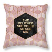 She Believed She Could Throw Pillow by Elisabeth Fredriksson