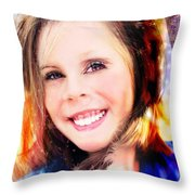 She Smiles Again Throw Pillow