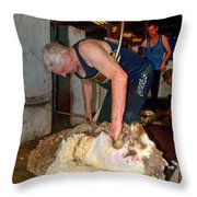 Collie Shearing Shed Throw Pillow