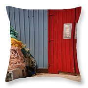Shed Doors And Tangled Nets Throw Pillow by Louise Heusinkveld
