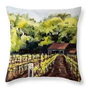 Shed In A Vineyard Throw Pillow by Sarah Lynch