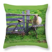 Sheep And Bicycle Throw Pillow