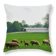 Sheep And Covered Bridge Throw Pillow