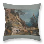 Sheep And Three Peasants Below A Cliff Throw Pillow