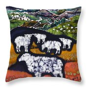 Sheep At Midnight Throw Pillow by Carol  Law Conklin