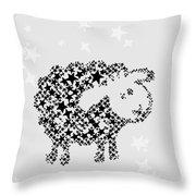 Sheep Black Star Throw Pillow