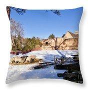 Sheep Farm In Winter Throw Pillow