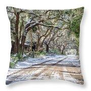 Sheep Farm - Snow Throw Pillow