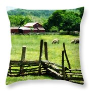 Sheep Grazing In Pasture Throw Pillow