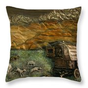 Sheep Herder's Wagon From Snowy Range Life Throw Pillow by Dawn Senior-Trask