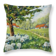 Sheep Huddled Under The Tree Farm Scene Throw Pillow