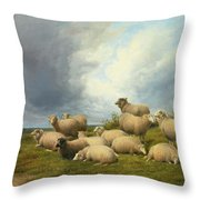 Sheep In A Pasture Throw Pillow