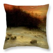 Sheep In A Winter Landscape Evening Throw Pillow