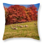 Sheep In The Autumn Meadow Throw Pillow