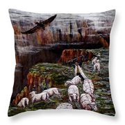 Sheep In The Mountains  Throw Pillow