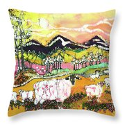 Sheep On Sunny Summer Day Throw Pillow