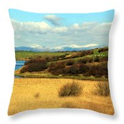 Sheep On The Hillside Throw Pillow