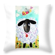 Sheep Birding Throw Pillow