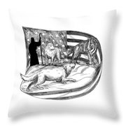 Sheepdog Protect Lamb From Wolf Tattoo Throw Pillow
