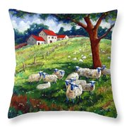 Sheeps In A Field Throw Pillow