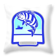 Sheepshead Fish Jumping Fishing Boat Crest Retro Throw Pillow