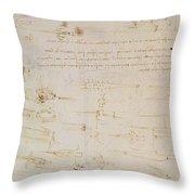 Sheet Of Studies Of Foot Soldiers And Horsemen In Combat, And Halbards Throw Pillow