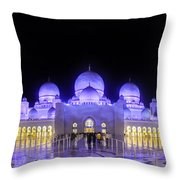 Sheikh Zayed Mosque Panorama View Throw Pillow