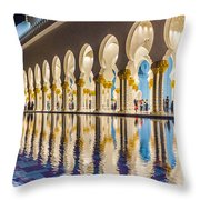 Sheikh Zayed Mosque Reflections Throw Pillow