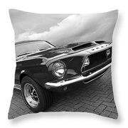 Shelby Gt500kr 1968 In Black And White Throw Pillow