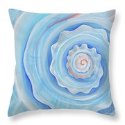 Shell Coral Blue Throw Pillow