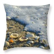 Shells And Seafoam Throw Pillow