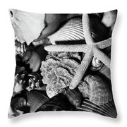 Shells And Starfish In Black And White Throw Pillow