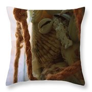 Shells In A Bottle Throw Pillow by Diane Reed